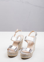 Strappy Espadrilles Platform Heeled Wedge Sandals Silver