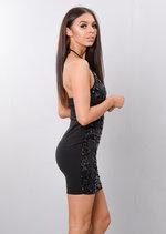 Strappy Halterneck Sequin Embellished Bodycon Dress Black