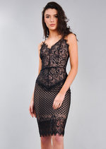 Strappy Plunge Neck Lace Midi Bodycon Dress Black