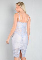 Strappy Plunge Neck Lace Midi Bodycon Dress Dusty Blue