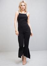 Strappy Tie Back Frill Hem Jumpsuit Black