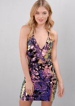 Strappy Velvet Glitter Sequin Mini Bodycon Dress Multi Purple