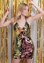 Strappy Velvet Glitter Sequin Mini Bodycon Dress Multi Gold