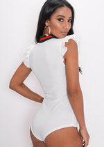 Stripe Frill Bodysuit White