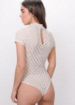 Stripe High Neck Bodysuit Beige