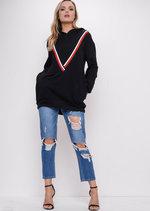 Stripe Hooded Sweatshirt Jumper Black
