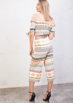 Stripe Off Shoulder Crop Top with Palazzo Trousers Co Ord Orange