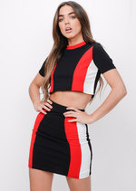 Stripe Panel Top and Skirt Co Ord Red