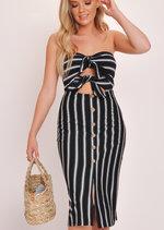 Stripe Tie Front Button Bandeau Midi Dress Black