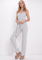 Stripe Tie Waist Jumpsuit White