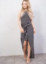 Stripe Twist Knot Dip Hem Maxi Dress Black