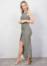 Stripe Twist Knot Dip Hem Maxi Dress Green