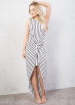 Stripe Twist Knot Dip Hem Maxi Dress White