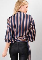 Stripe Wrap Over Tie Waist Blouse Navy Blue