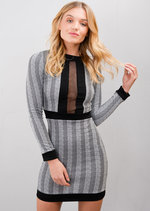 Striped Chevron Mesh Front Mini Dress Grey