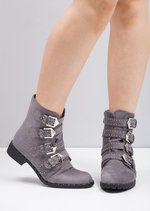 Multi Buckles Pin Studded Ankle Boots Grey