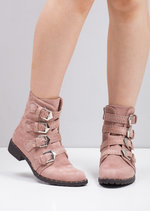 Multi Buckles Pin Studded Ankle Boots Pink