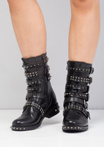 Rivet Studded Multi Buckles Biker Ankle Boots Black
