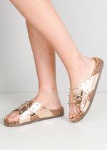 Metallic Studded Cross Strap Sliders Rose Gold