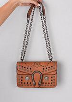 Studded Embellished Cross Body Bag Brown