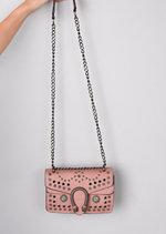 Studded Embellished Cross Body Bag Pink