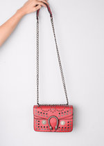 Studded Embellished Cross Body Bag Red