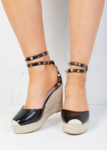 Studded Espadrille Wedge Sandals Black