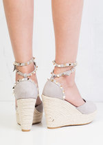 Studded Espadrille Wedge Sandals Suede Grey