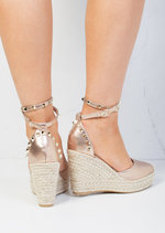 Studded Espadrille Wedge Sandals Rose Pink