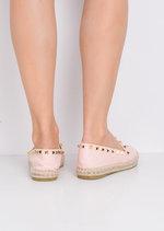 Studded Espadrilles Flats Pink