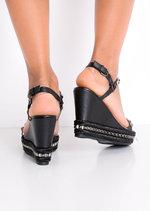 Studded Espadrilles Heeled Platform Braided Wedge Sandals Patent Black