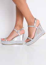 Studded Espadrilles Heeled Platform Braided Wedge Sandals Silver