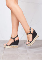 Studded Espadrilles Platform Heeled Braided Wedge Sandals Black