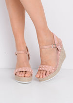 Studded Faux Suede Espadrille Wedge Sandals Pink
