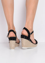 Studded Faux Suede Espadrille Wedge Sandals Black