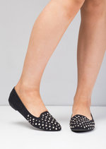 Studded Faux Suede Flats Black
