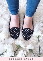 Studded Faux Suede Slip On Flats Black