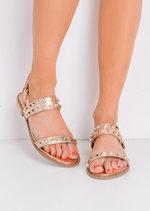 StuddedFlat Sandals Gold