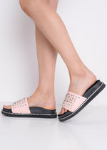 Studded Flatform Sliders Pink