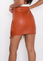 Studded Fringe Leather Look Mini Skirt Tan Brown