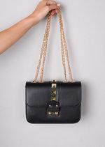 Studded Gold Chain Clutch Shoulder Bag Black