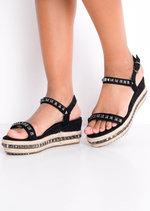 Studded Strappy Wedge Platform Espadrille Sandals Black