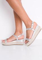 Studded Metallic Braided Flatform Espadrille Sandals Silver