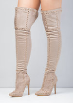 Studded Over the Knee Pointed Toe Heeled Boots Beige