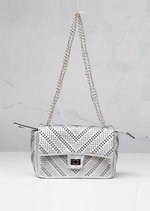 Studded Shoulder Bag with Silver Chain Silver