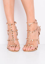 Studded Strappy Metallic Stiletto Heeled Sandals Rose Gold