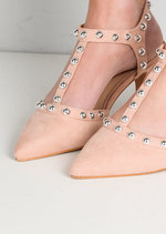 Studded T-Bar Faux Suede Kitten Court Heels Pink