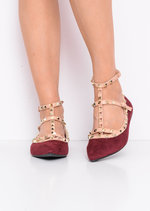 Studded T-Bar Pointed Faux Suede Flats Burgundy Red