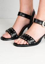 Studded Western Style Strappy Block Heel Sandals Black