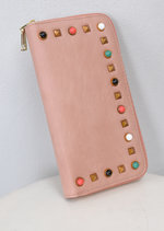 Studded Zip Around Purse Pink